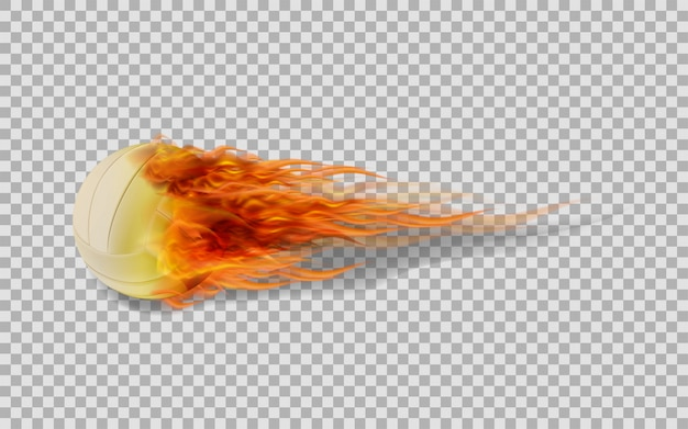 Vector volleyball in fire on transparent background. Premium Vector