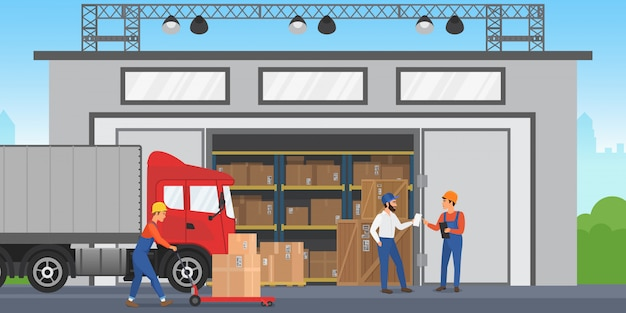 Vector warehouse workers are arranging goods on the shelves. warehouse exterior building wirh cargo truck. Premium Vector