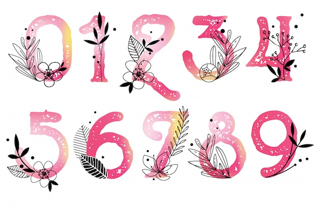 Vector watercolor numbers with florals Premium Vector