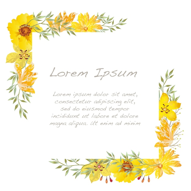 Vector watercolor square floral frame isolated on a white. Free Vector