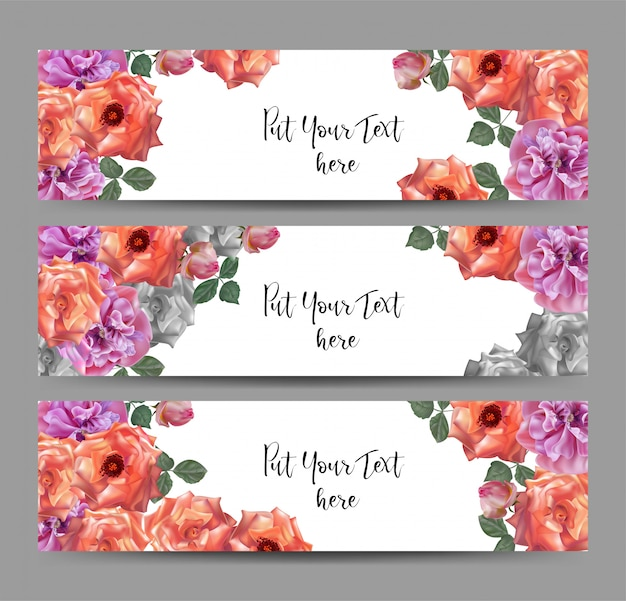 Vector web banners with roses and poppy flower Premium Vector