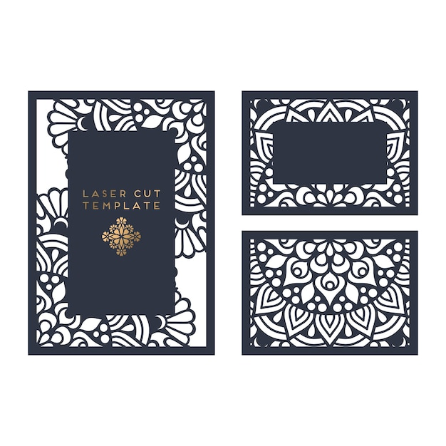 Vector wedding card laser cut template Vector | Free Download