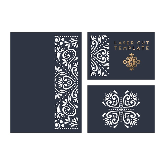 Vector wedding card laser cut template Free Vector