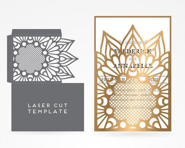 Vector wedding card laser cut template Free Vector