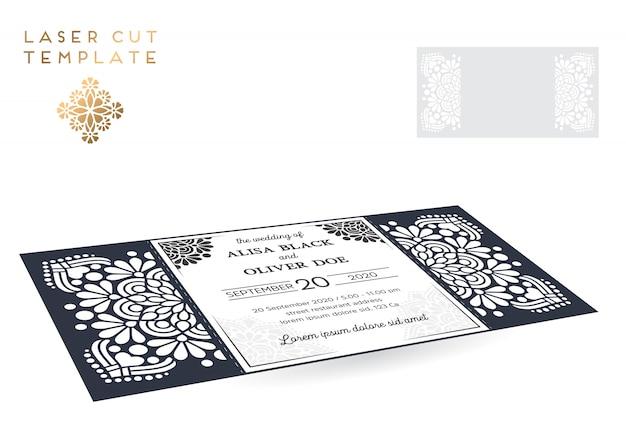 Vector wedding card laser cut template Premium Vector