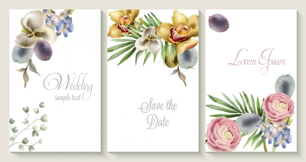 Vector wedding invitation card set with orchid flowers Premium Vector