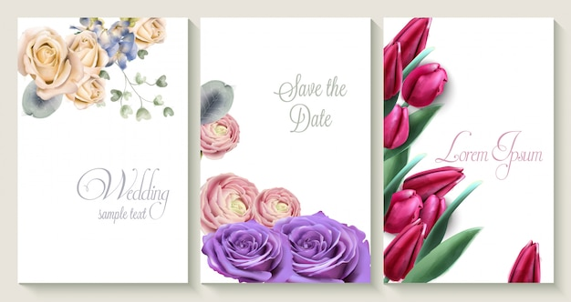 Vector wedding invitation card set with roses and tulip flowers Premium Vector