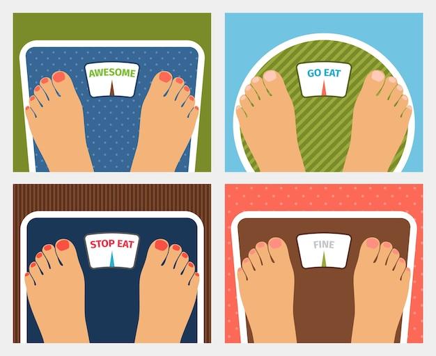 Векторный контроль веса. потрясающе, иди или перестань есть и хорошо, диета и фитнес Бесплатные векторы