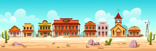 Vector western town street with wooden buildings Free Vector
