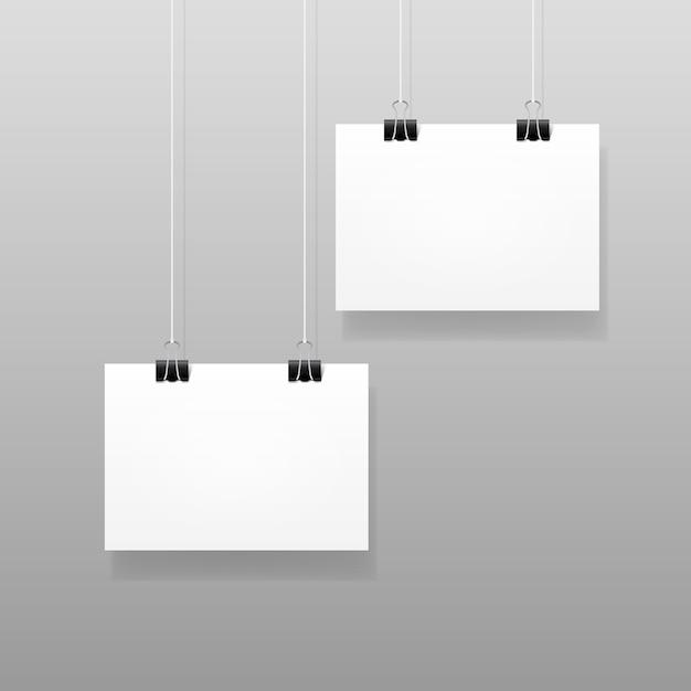 Вектор белый чистый лист бумаги плакат плакат макет шаблона рамы Premium векторы