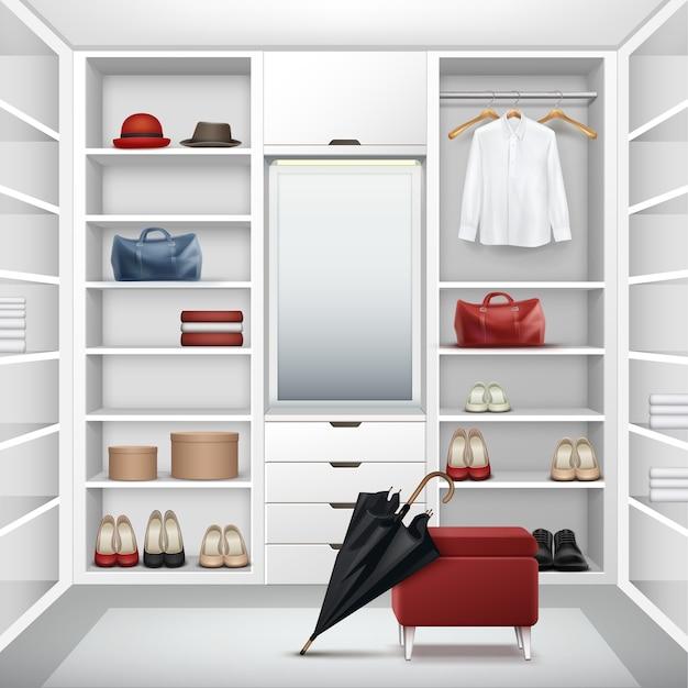 ボックス、ミラー、赤いプーフ、シャツ、帽子、バッグ、靴、黒い傘の正面図とベクトル白い空のクローゼットクローゼット 無料ベクター