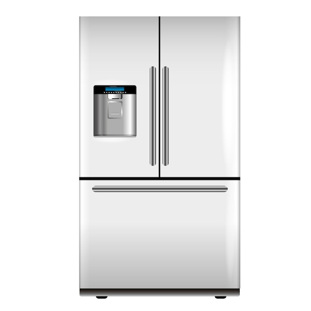 Vector white fridge Premium Vector