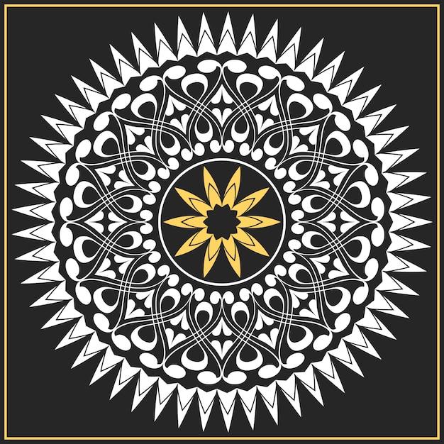 Vector white and gold pattern of spirals, swirls, chains Premium Vector