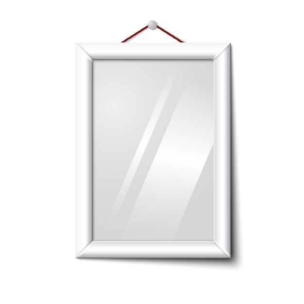 Vector white isolated vertical photo frame hanging on the white wall Premium Vector