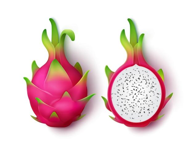 Вектор весь и нарезанный яркий розовый дракон фрукт, изолированные на белом фоне Бесплатные векторы