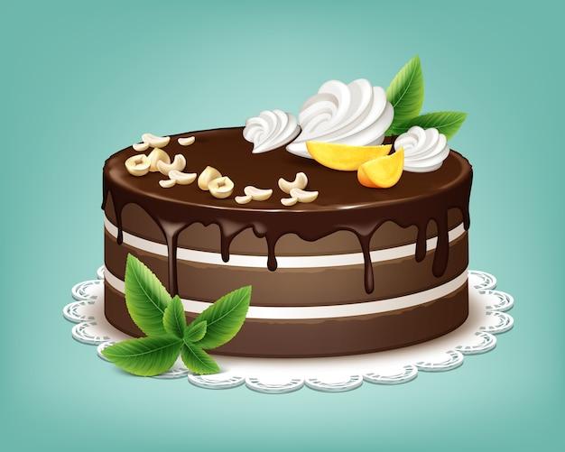Вектор весь шоколадный слоеный торт с глазурью, взбитыми сливками, орехами, фруктами и мятой на белой кружевной салфетке изолированы Бесплатные векторы
