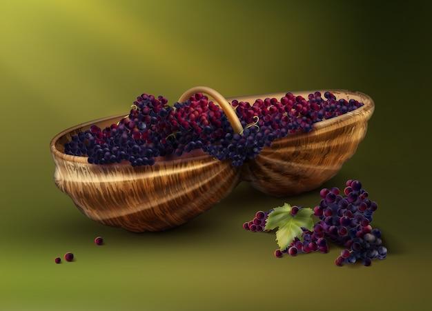 Вектор плетеная корзина со свежесобранным красным виноградом для вина, изолированные на зеленом фоне Бесплатные векторы