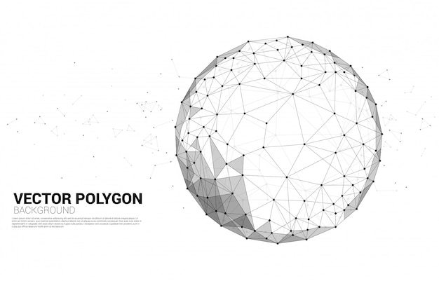 Vector wireframe polygonal lines connect dot geometric sphere isolated on white background: concept of big data, connection, digital Premium Vector