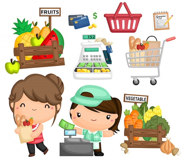 A vector of a woman buying groceries Premium Vector