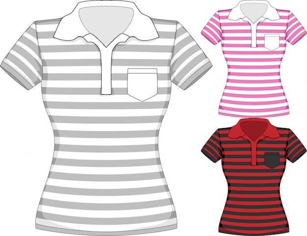 ストライプの3色のベクトルレディース半袖tシャツデザインテンプレート Premiumベクター
