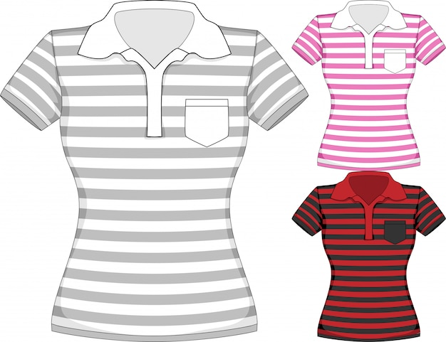 Vector womens short sleeve t-shirt design templates in three colors with stripes Premium Vector