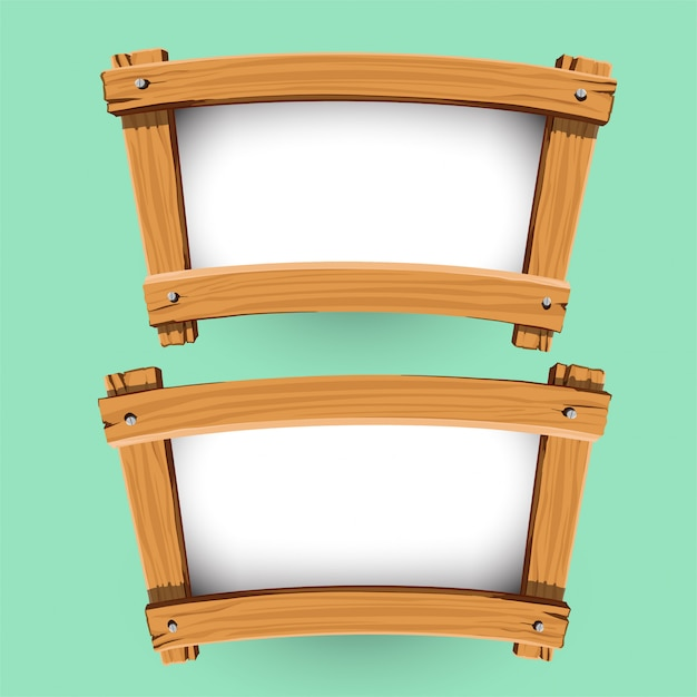 Vector of wood banner design Premium Vector