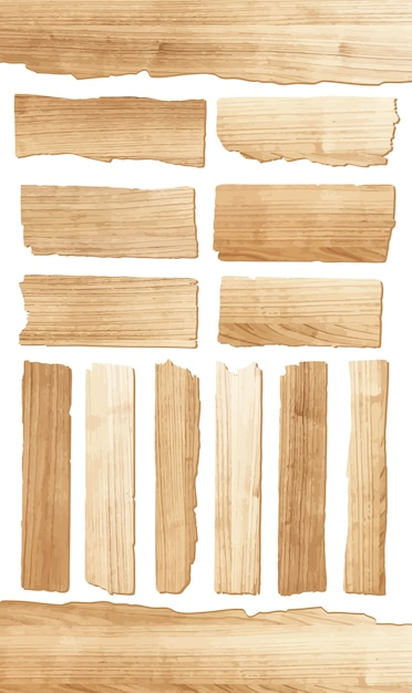 Vector wood plank isolated on white background Premium Vector