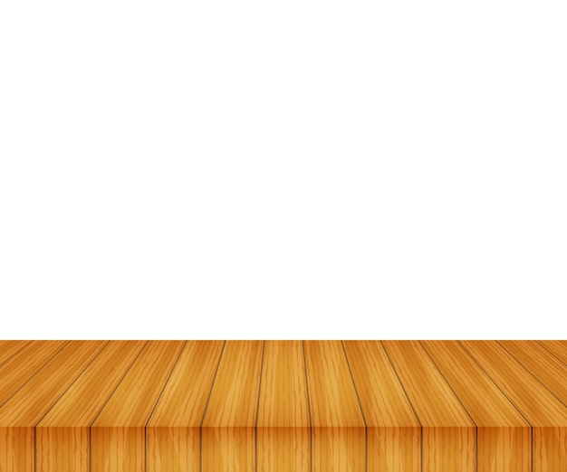 Vector wood table top on white background Premium Vector