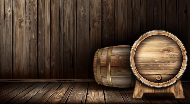 Vector wooden barrel for wine or beer in cellar Free Vector