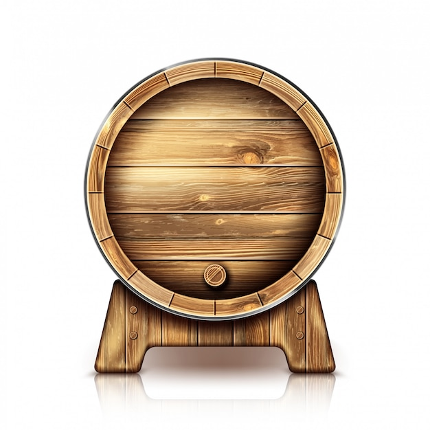 Vector wooden barrel for wine or beer on stand Free Vector