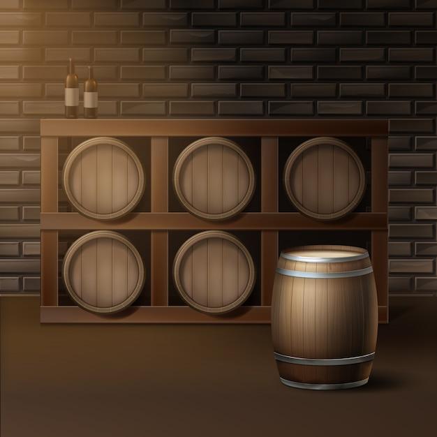 Вектор деревянные бочки для вина в погребе винодельни, изолированные на фоне кирпичной стены Бесплатные векторы