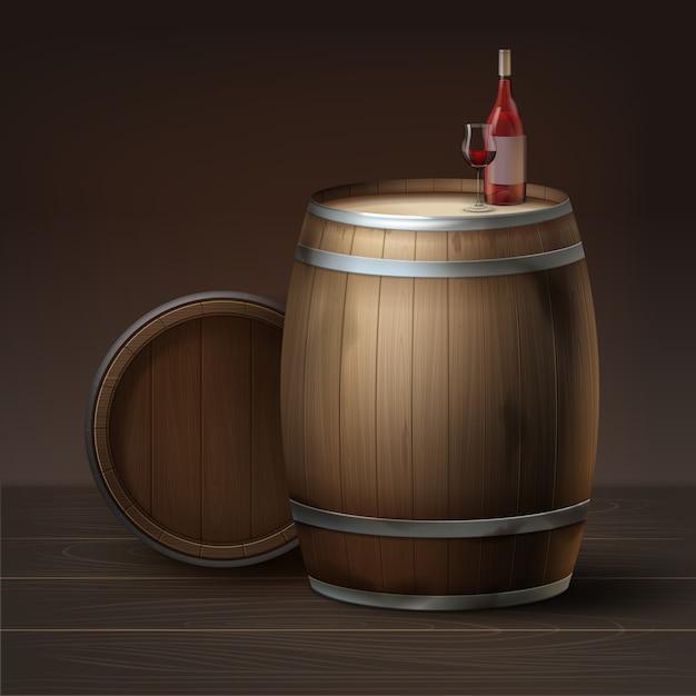 Вектор деревянные бочки виноградного вина с бутылкой и стаканом, изолированные на коричневом фоне Бесплатные векторы