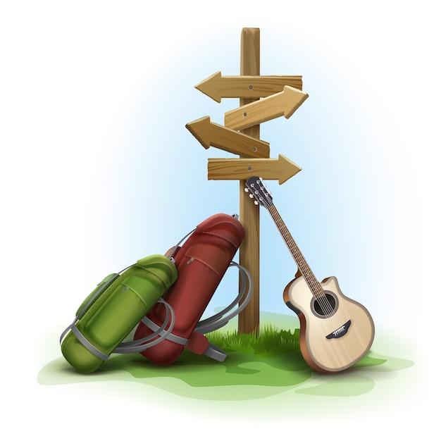 Cartello direzionale in legno di vettore con due grandi zaini e chitarra sullo sfondo Vettore gratuito