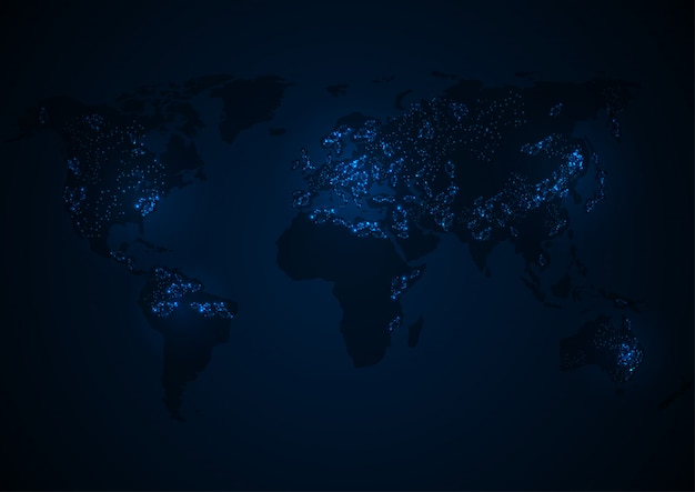 Векторная карта мира с континентом Premium векторы