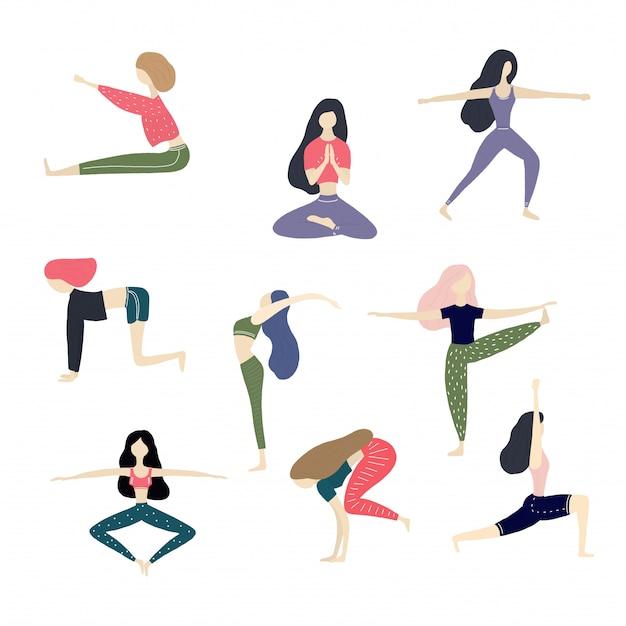Vector yoga girl illustration collection Premium Vector