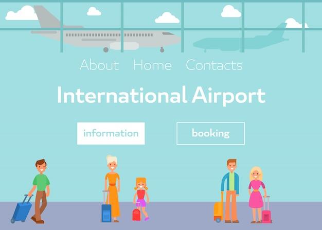 Туристы в терминале международного аэропорта с багажом vector иллюстрация. мультфильм плоских пассажиров и бронирование в аэропорту веб-шаблон. Premium векторы