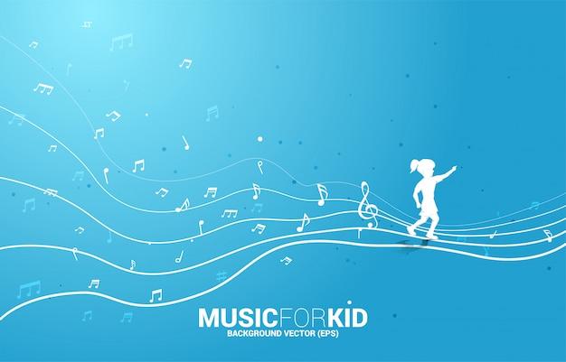 Vector силуэт девушки бежать с примечанием музыки формы подачи танцев. концепция фоновой музыки для малыша и детей. Premium векторы