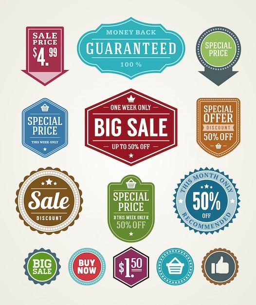 Ярлыки продажи и комплект элементов дизайна лент значков наградные качественные vector иллюстрация. Premium векторы
