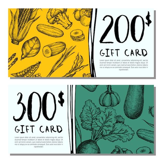 Vegan cafe gift card set Premium Vector