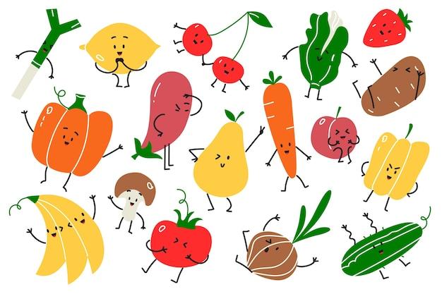 ビーガンフード落書きセット。手描き落書きベジタリアンフードマスコットハッピーフルーツ感情アップルニンジンカボチャチェリーバナナと白い背景の上。フルーツビタミン健康栄養図 Premiumベクター