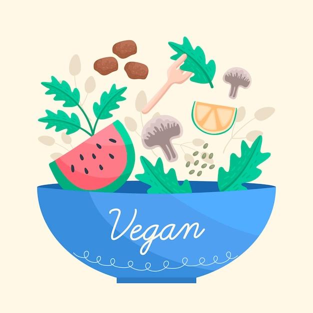 Веганская еда в синей миске Бесплатные векторы