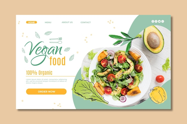 Шаблон целевой страницы веганской еды Бесплатные векторы