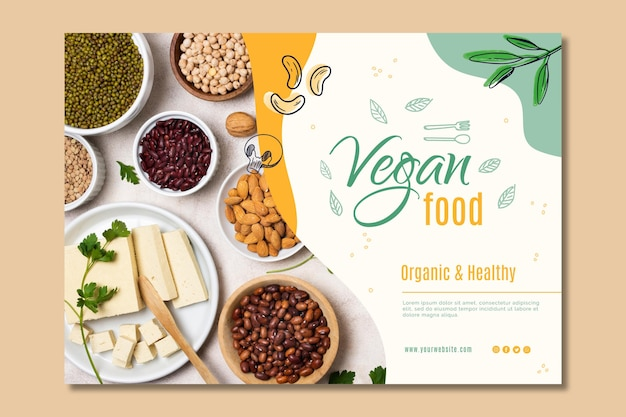 Vegan food landing page template Free Vector