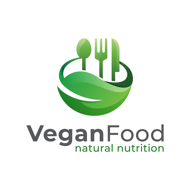 Vegan food restaurant logo, natural nutrition, healthy food and healthy life logo design vector template Premium Vector