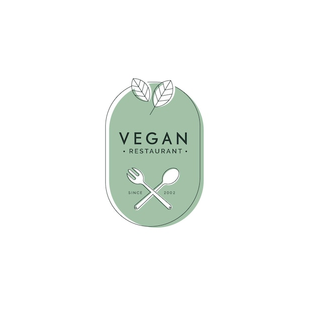 Vegan food restaurant logo Free Vector