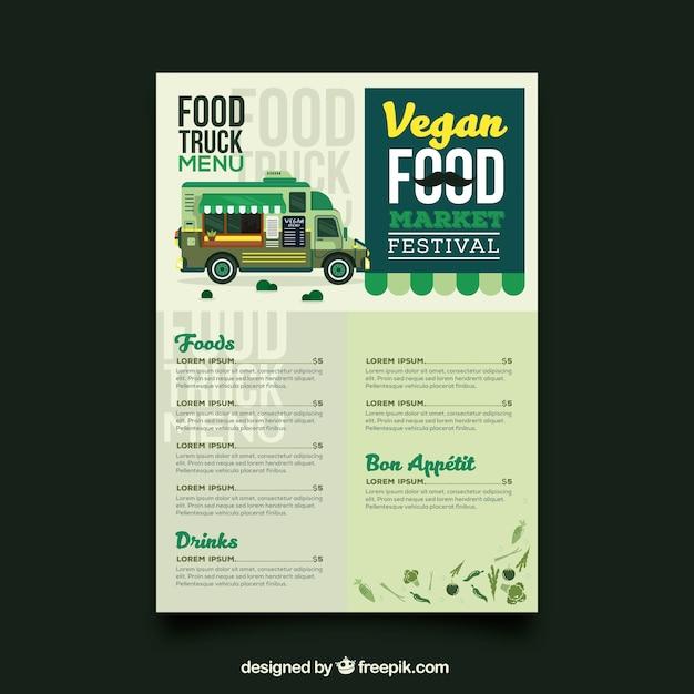 vegan food truck menu template vector free download