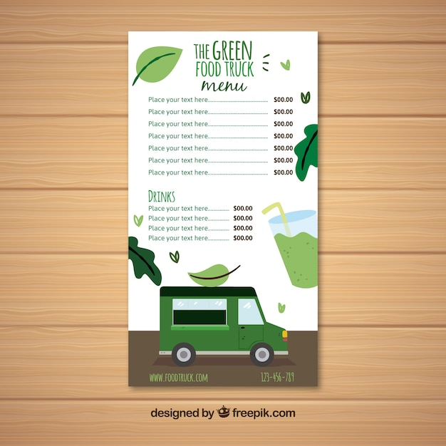 Vegan food truck menu template