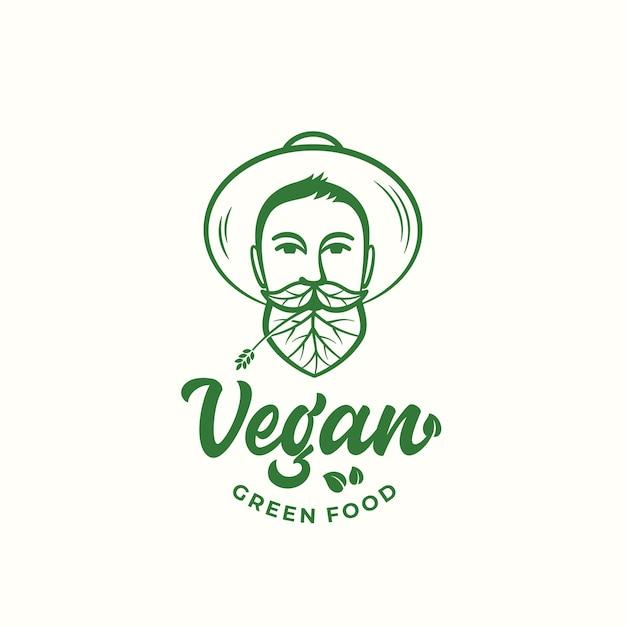Segno di vettore astratto di cibo verde vegano, simbolo o modello di logo Vettore gratuito