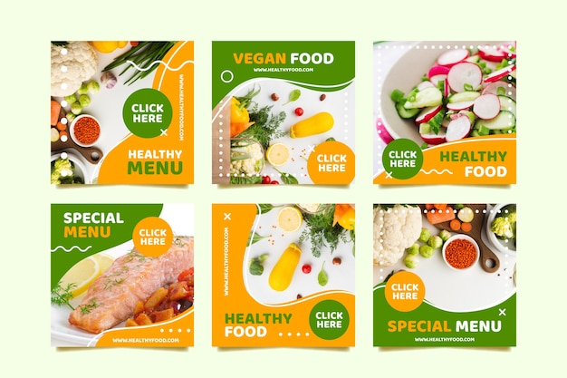 Vegan menu social media post Premium Vector