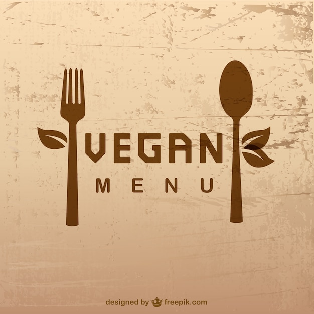 Vegan menu with a spoon and a fork Premium Vector